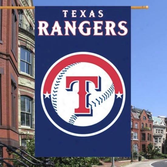 Texas Rangers Flag : Texas Rangers Royal Blue Vertical Applique Flag