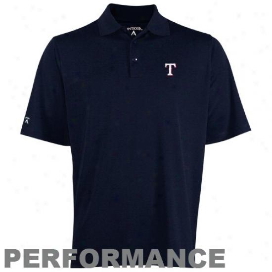 Texaas Rangers Golf Shirts : Antigua Texas Rangers Navy Blue Exceed Golf Shirts