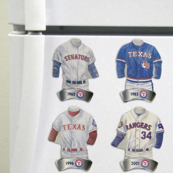 Texas Rangers Jersey Evolution 4-pack Magnets