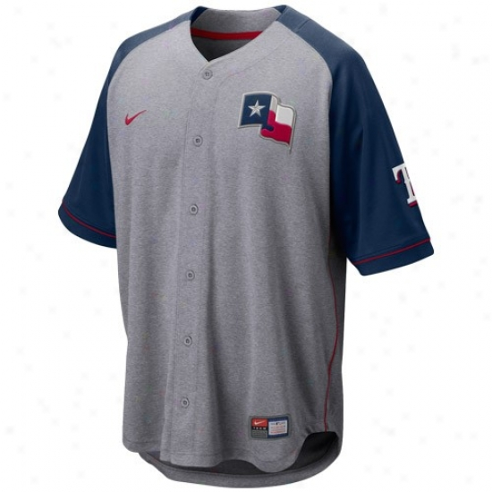 Texas Rangers Jersey : Nike Texas Rangerrs Ash-navy Blue At 'em Full Button Baseball Jersey