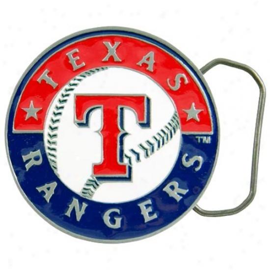 Texas Rangers Pewter Team Logo Belt Buckle