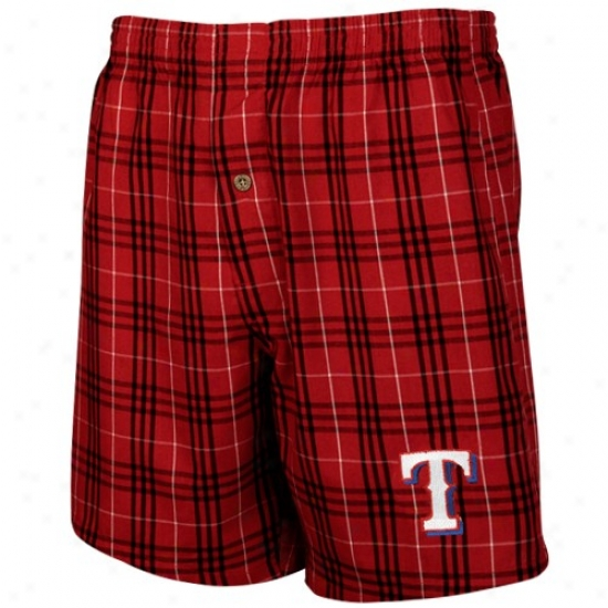 Texas Rangers Red Plaid Event Boxer Shorts