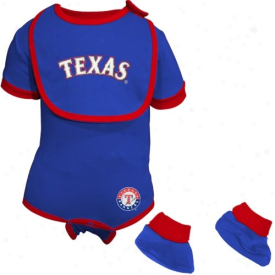 Texas Rangers Royal Blue Infaant Baseball Bib & Booties Set