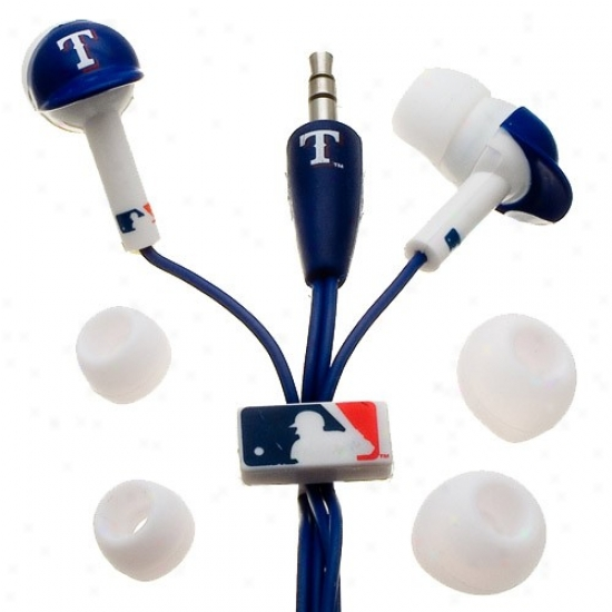 Texas Rangers Royal Blue Team Logo Helmet Earbud Hdadphones