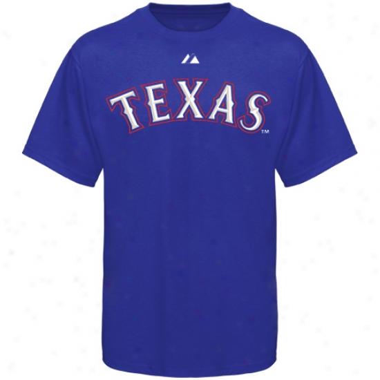 Texas Rangers Shirts : August Texas Rangers Noble Blue Wordmark Shirts