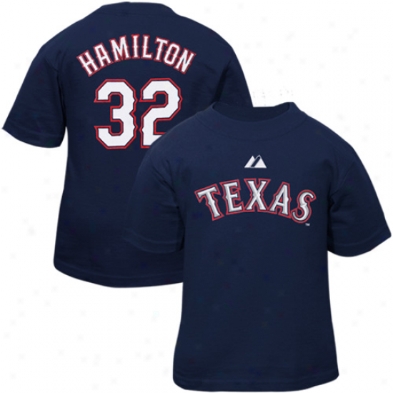 Texas Rangers T-shirt : Majestic Texas Rangers   #32 Josh Hamilton Infant Navy Blue Player T-shirt