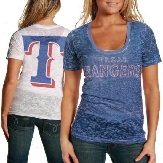 Texas Rangers T Shirt : Touch By Alyssa Milano Texas Rangers Royal Blue-white Superfan Sublimated Sheer Burnout Premium T Shirt