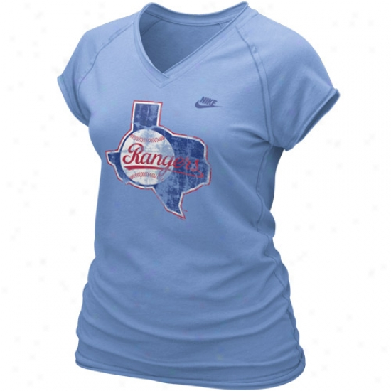 Texas Rangers Tee : Nike Texas Rangers Ladies Light Blue Cooperstown Bases Loaded Tee