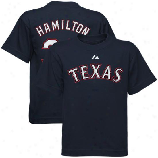 Texas Rangers Tees : Majestic Texas Rangers #32 Josh Hamilton Preschool Navy Blue Player Tees