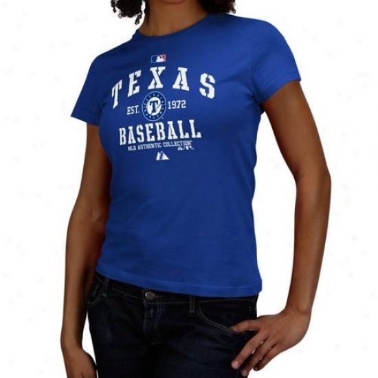 Texas Rangers Tees : Majestic Texas Rangers Ladies Royal Blue Ac Classic Tees