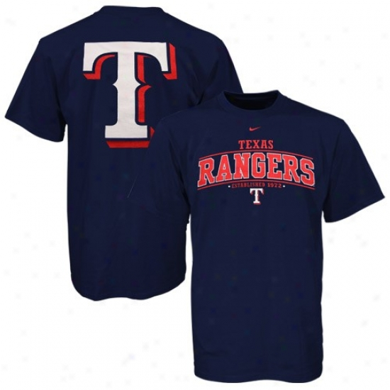 Texas Rangers Tees : Nike Texas Rangers Youth Navy Blue Arched Date Tees