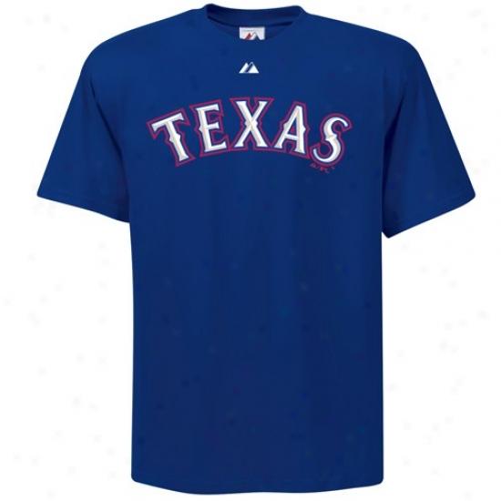 Texas Rangers Tshirts : Majestic Texas Rangers Youth Navy Blue Wordmark Tshirts