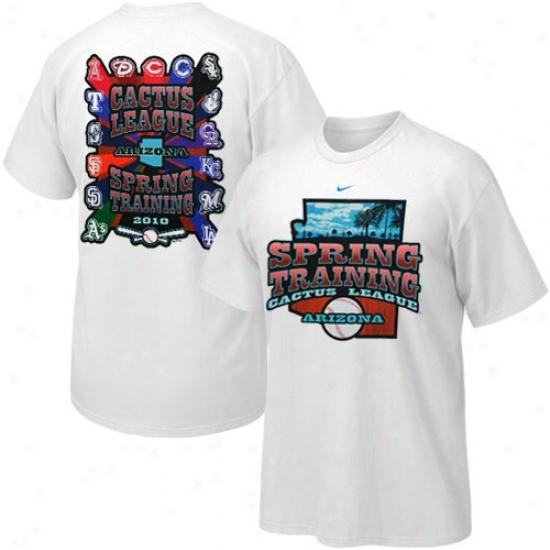 Texas Rangers Tshirts : Nkke White 2010 Spring Training Cactus League Tshirts