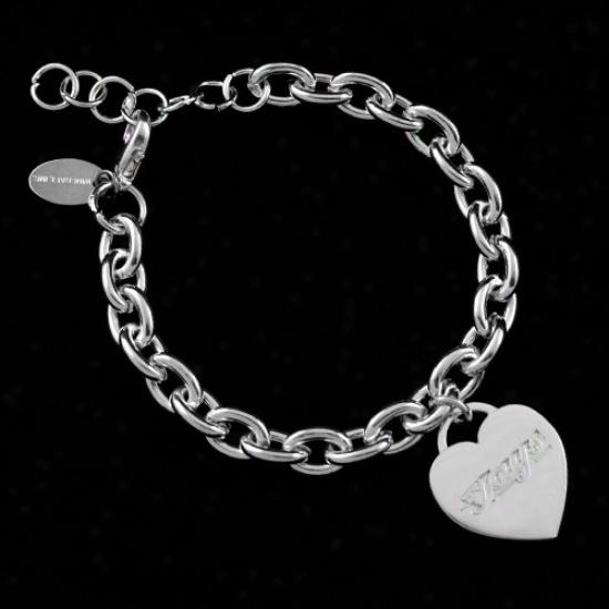 Toronto Blue Jays Ladies Silver Heart Charm Bracelet
