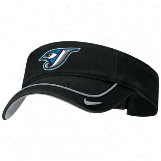 Toronto Blue Jays Merchandise: Nike Toronto Blue Jays Black Swoosh Adjustable Visor