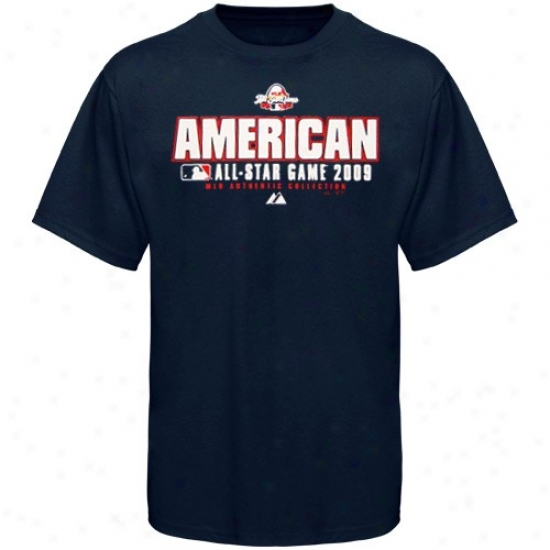 Toronto Azure Jays Shirts : Majestic Mlb All-star Game Youth Navy Blue Amerjcan League Exercise Shirts