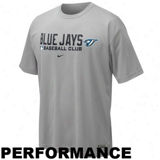 Toronto Blue Jays T Shirt : Nike Toronto Blue Jays Gray Dri-fit Team Issue Performance Top