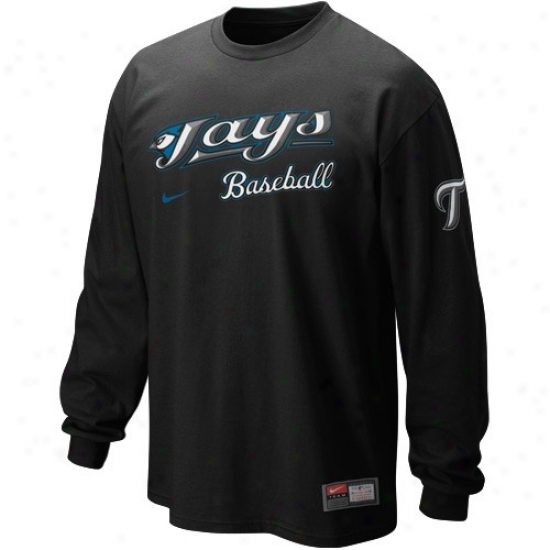 Tronto Blue Jays T-shirt : Nike Toronto Blue Jays Black 2010 Mlb Practice Long Sleeve T-shirt