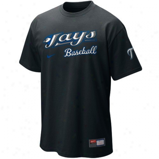 Toronto Blue Jays T-shirt : Nike Tor0nto Blue Jays Black Mlb 2010 Practice T-shirt