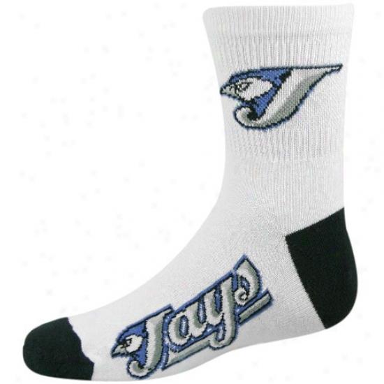 Toronto Blue Jays Youth White Team Logo Crew Sockd