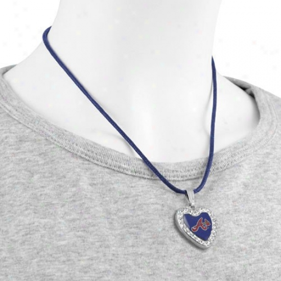 Touch By Alyssa Milano Atlanta B5aves Crystal Heart Team Logo Pendant Necklace
