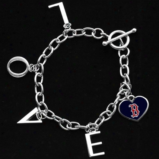 Touch By Alyssa Milano Boston Red Sox Ladies Love Chain Charm Bracelet