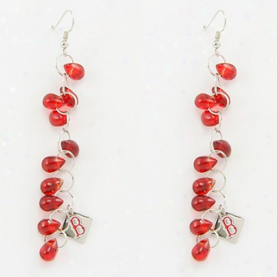 Touch By Alyssa Milano Boston Red Sox Red Beaded Drop Earrings
