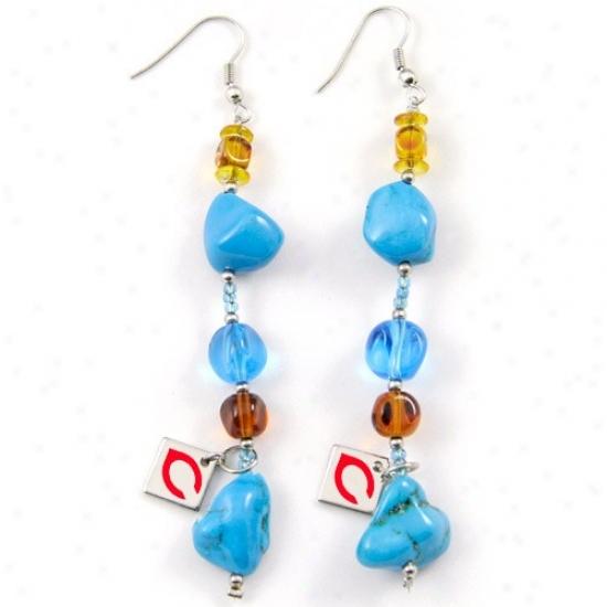 Tkuch By Alyssa Milano Cincinnati Reds Turquoise Drop Earrings