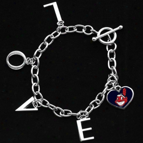 Touch By Alyssa Milano Cleveland Indians Ladies Love Chain Charm Bracelet