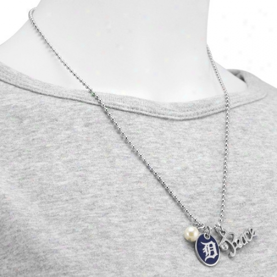Meet At Alyssa Milano Drtroit Tigers Peace & Pearl With Team Logo Pendant Necklace