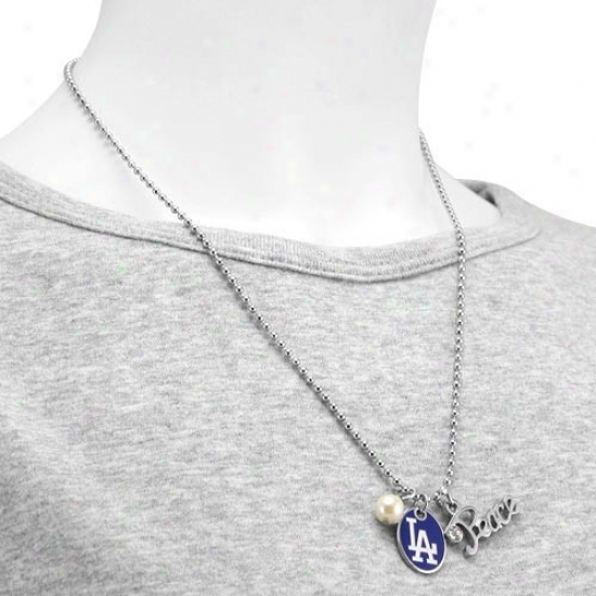 Reach Near to Alyssa Milano L.a. Dodgers Peace & Pearl With Team Logo Pendant Necklace