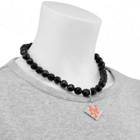 Touch By Alyssa Milano New York Mets Beaded Necklace With Team Logo Pendant