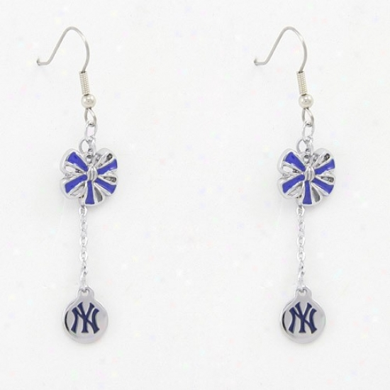 Touch By Alyssa Milano New York Yankees Blue Ribbon Bow Drop Earrings