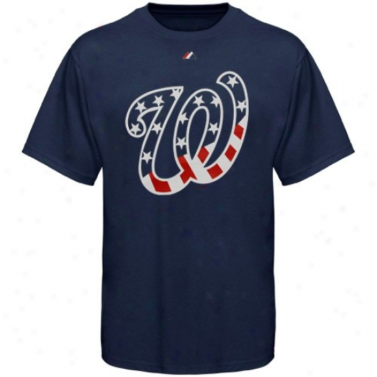 Washington Nationals Appar3l: Majestjc Washington Nationals Navy Blue Stars & Stripes Logo T-shirt