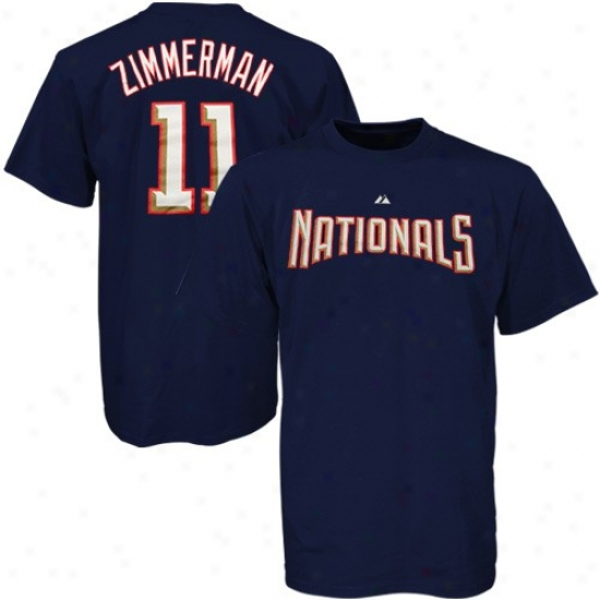 Washington Nationals Apparel: Majestic Washington Nationals #11 Ryan Zimmerman Navy Blue Players T-syirt