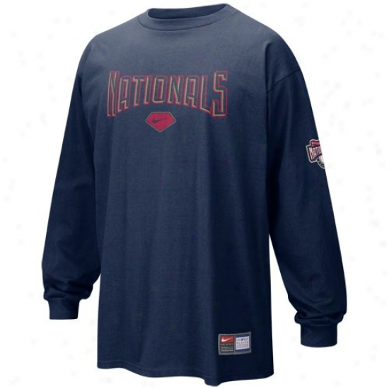 Washington Nationals Apparel: Nike Washington Nztionals Navy Blue Practice Long Sleeve T-suirt