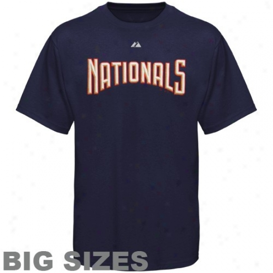 Washington Nationals Attire: Majestic Washington Nationals Navy Blue Team Logo Big Sizes T-shirt