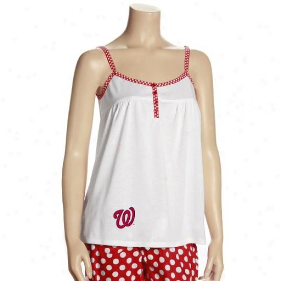 Washington Nationals Attire: Washington Nationals Ladies Whitw Galaxy Tan Top