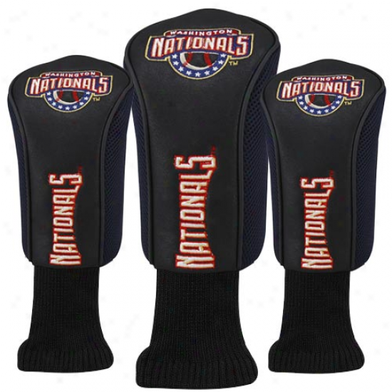 Washington Nationals Black 3-pack Golf Club Headcovers