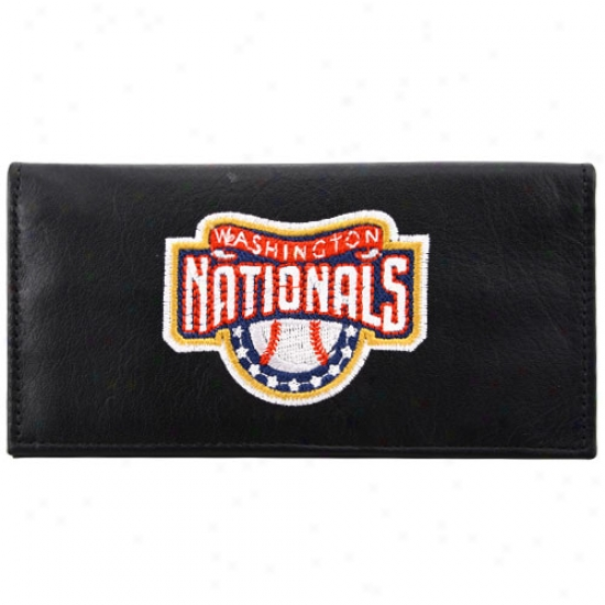 Washington Nationals Black Embroidered Leather Checkbook Cover