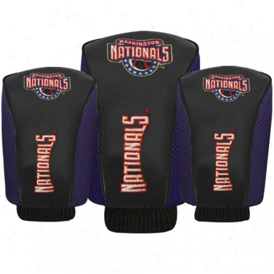 Washington Natoonals Black Three-pack Golf Club Headcovers