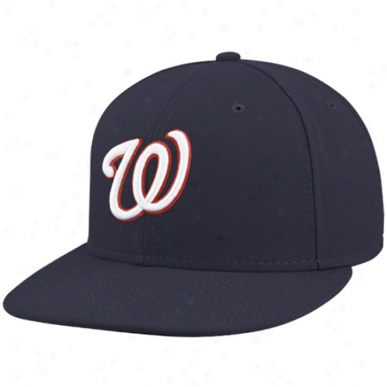 Washington Nationals Cap : Recent Ers Washington Nationals Navy Pedantic  On-field 59fifty Fitfed Cap