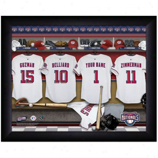 Washington Nationals Customized Locker Room Black Framed Photo