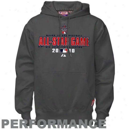 Washington Nationals Hoodies : Majestic 201 0Mlb All-star Game Charcoal Practice Performance Hoodies