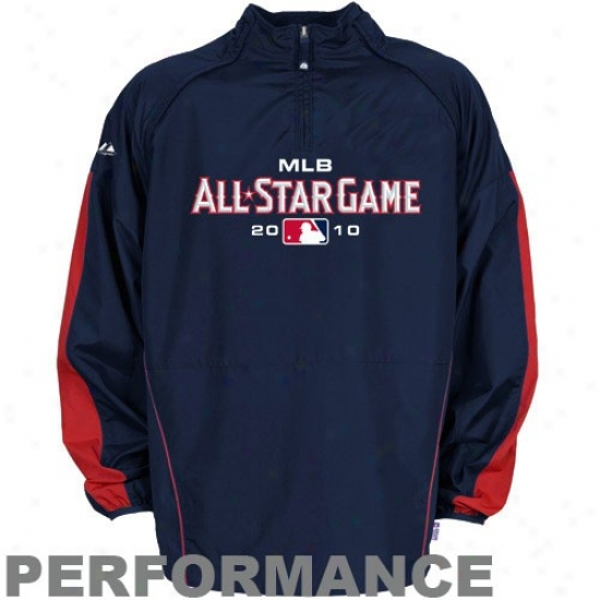Washington Nationals Jackets : Majestic 2010 Mlb All-star Game Ships Blue 1/4 Zip Performance Jackets