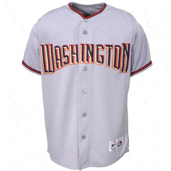 Washington Nationals Jersey : Majesticc Washington Nationals Grey Reppca Jersey
