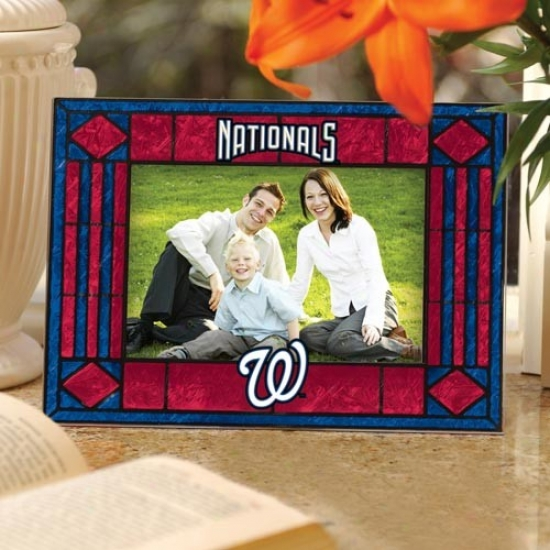 Washington Nationals Red Art-glass Horizontal Picture Frame