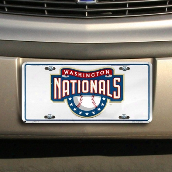 Washington Nationals Silver Super Stock Metal License Plate
