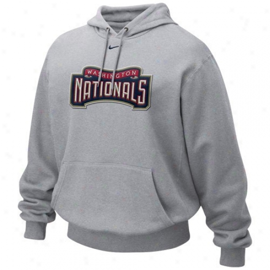 Washington Nationals Sweat Shirt : Nlke Washington Nationals Ash Tackle Twill Sweat Shirt