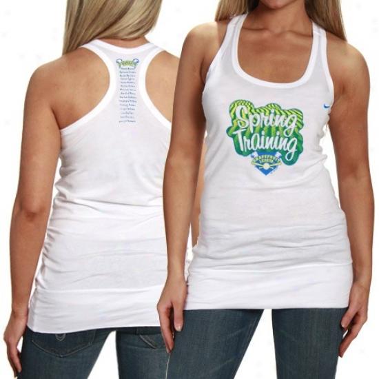 Washington Nationals T Shirt : Nike 2010 Mlb Spring Training Ladies White Grapefruit League Racerback Tank Top